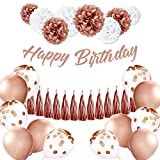 EpiqueOne Rose Gold Birthday Decoration Set: Happy Birthday Banner, Tassel Garland, Latex Balloons, Confetti Balloons, Tissue Paper Pom