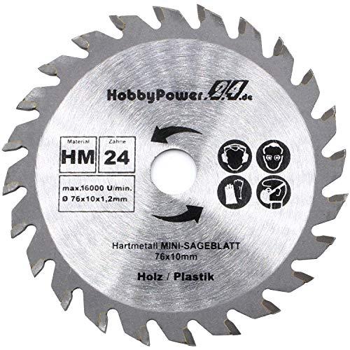 1 Stück HM Kreissägeblatt 76 x 10 mm 24 Zähne Sägeblatt Neu für Mini Handkreissäge Tauchsäge Kreissäge