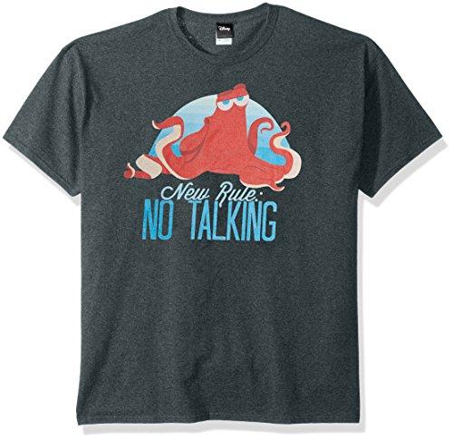 Disney Men's Finding Dory Hank New Rule No Talking Graphic T-Shirt, Navy Heather, XXXL