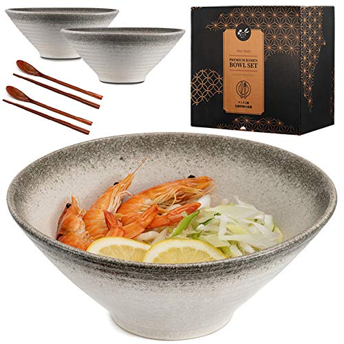Ceramic Japanese Ramen Bowls Set of 2 - 60 ounce Large Noodle Soup Bowl, with Chopsticks and Spoon...