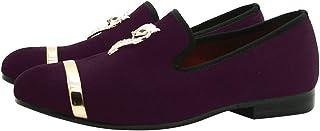 Mocassin Homme Velours Métalliques Texturés Loafers Slip-on Casual Flats Soirée Glitter Chaussures Noir Volet Bleu