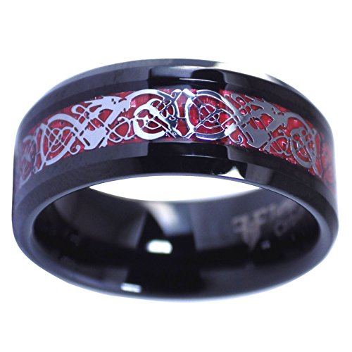 Fantasy Forge Jewelry Black Tungsten Red Celtic Dragon Ring Mens Womens 8mm Carbon Fiber Band Size 9