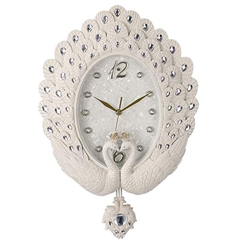 Reloj de pared Gráfico de la pared del reloj de pared creativo del pavo real del reloj de pared de la sala Etiqueta reloj del arte del reloj de pared del reloj de pared retro ( Color : Beige )