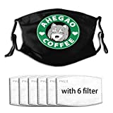Ahegao Coffee A1002 Ahegao - Men Women Adjustable Earloop Face Mouth MAK Anti Pollution Washable Reusable with 6 Filters
