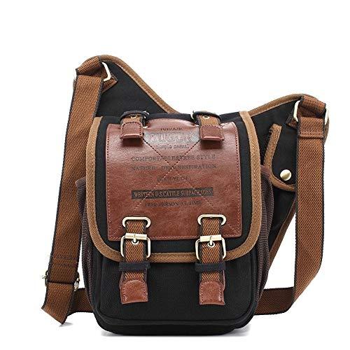 AUGUR Men's Brown Canvas Leather Single Shoulder Cross Body Bag Military Messenger School Travel Hiking Satchel,Black