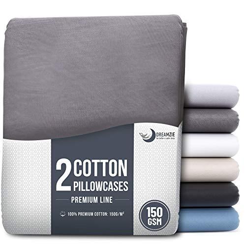Dreamzie - Set de 2 x Taie Oreiller 65 x 65 cm - Anthracite - 100% Premium Coton Jersey 150gsm - Housse de Coussin Résistant et Hypoallergénique