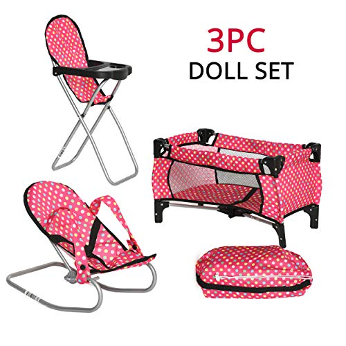 fash n kolor 3 Piece Doll Play Set, Includes - 1 Pack N Play. 2 Doll Stroller 3.Doll High Chair. 4 Infant Seat, Fits Up to 18'' Doll (3 Piece Set)
