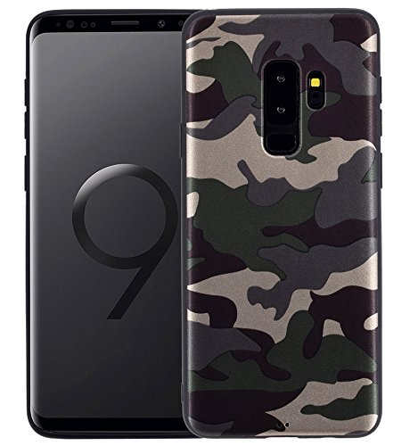 Favory Camouflage Design Silikon Case Premium TPU Hülle für Samsung Galaxy S9 Plus Tasche Schutzhülle Cover Shop