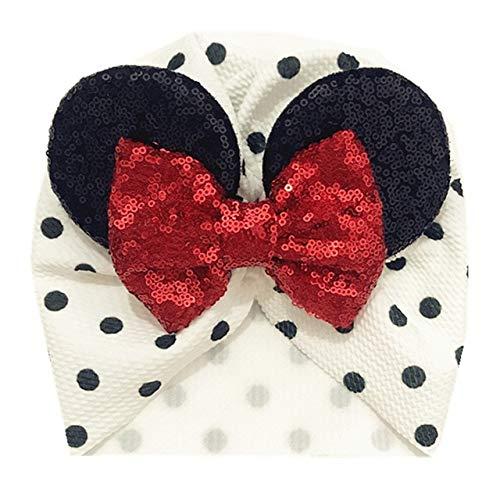 Lhbin Frühling/Sommer Säugling Beanie Turban Hut Baby Minnie Mouse Ohren Haarband mit Pailletten Haarschleifen Fotografie Requisiten Cap-W1263-Khaki