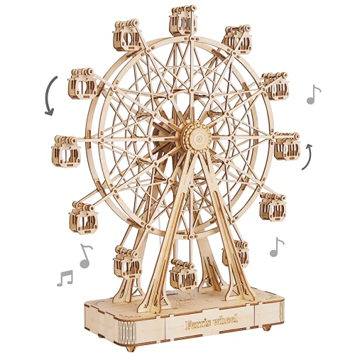 Rolife 3D Wooden Puzzle Hand Crank Music Box Machinarium Toys-DIY Wood Craft Kit-Creative Gift for Boys Girls Adults Kids When Christmas/Birthday (Ferris Wheel Wood Color)