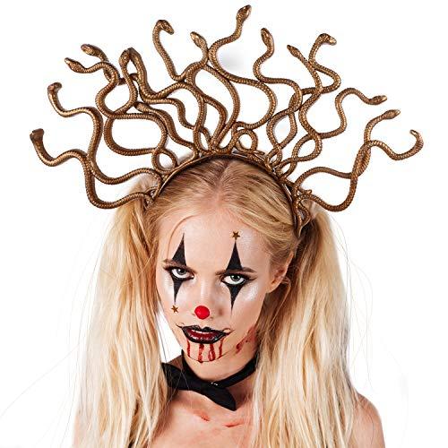 WILLBOND 3 Piezas Medusa Diadema de Oro Medusa Disfraz Diadema Halloween Medusa Disfraz Tocado para Halloween Disfraces Fiesta Accesorio
