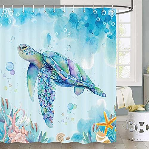 Duschvorhang mit Schildkrötenmotiv, Unterwasserfisch, Seetang, Qualle, Koralle, Ozeantiere, Duschvorhang-Sets, tropische Fische unter dem Meer, mit Schildkrötenstoff, Duschvorhanghaken, 177,8 cm