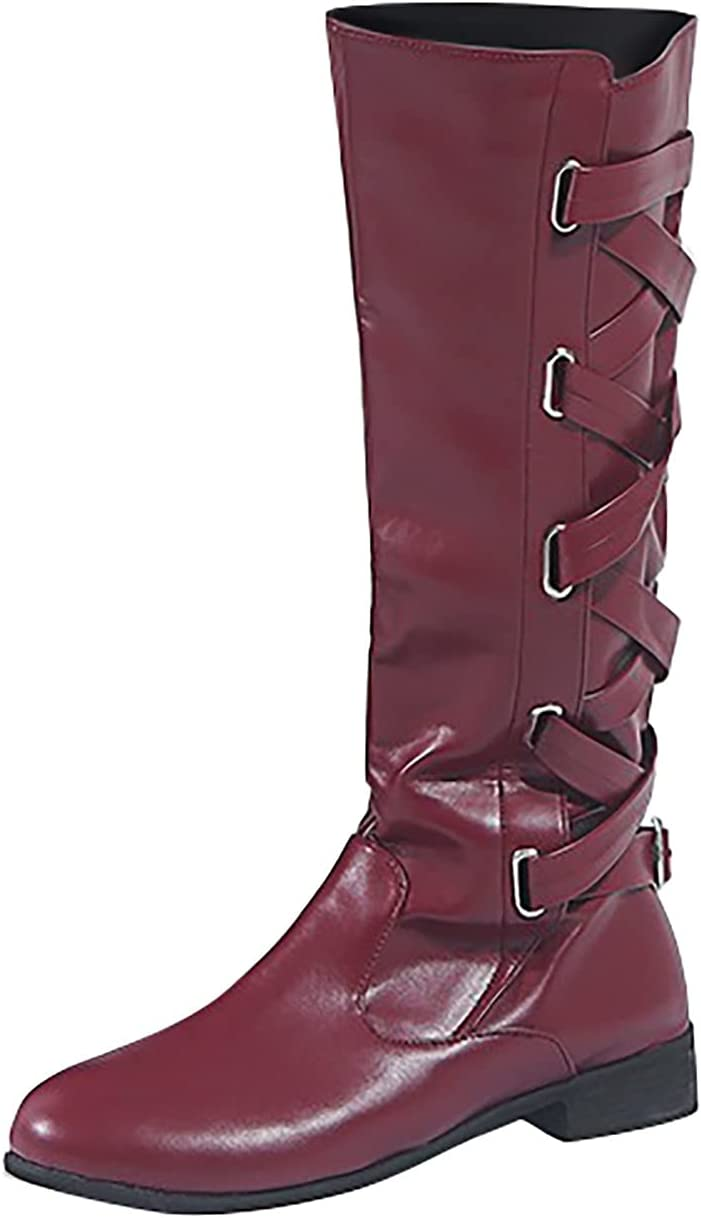 Vowes Winter Boots for Women,Women Boots Belt Buckle Boots Side Zipper Flat Heel High Boots