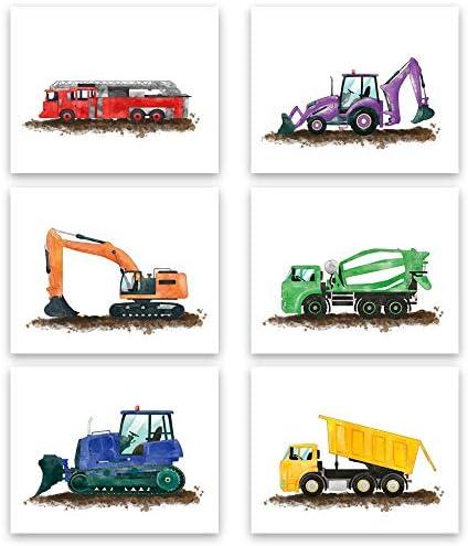 Watercolor Truck Wall Art Print Playroom or Nursery Boy Bedroom Decor Colorful Cartoon Construction product image