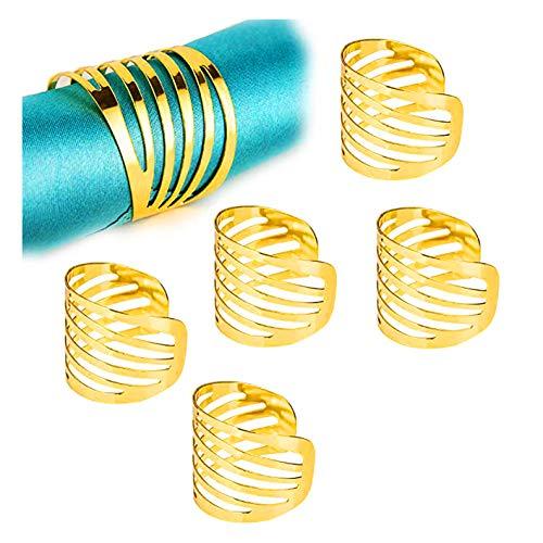 Gold Serviettenringe,12 Stück Metall Serviettenschnallen für Hochzeitsfeier Abendessen Jubiläum Tischdekoration