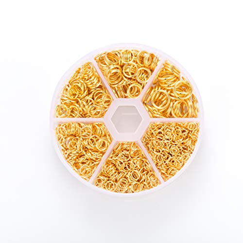 Open Jump Rings,1600 Pieces 4-10mm Round Jump Rings for Jewelry Making(Gold)