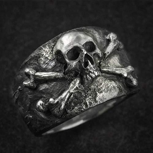 CHCO Vintage Crossbones Pirate Skull Ring Anillos De Acero Inoxidable Biker De Color Plateado para Hombre 14