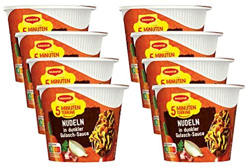 Maggi 5 Minuten Terrine Nudeln in dunkler Gulasch-Sauce, leckeres Fertiggericht, Instant-Nudeln mit herzhaften Rindfleisch-Würfeln, 8er Pack (8 x 60g)