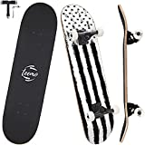 TEEMO Skateboard for Beginners, 7-Ply Canadian Maple Deck, 31' x 8' Complete Skateboard Double Kick Concave Standard Skateboard for Kids Teens & Adults