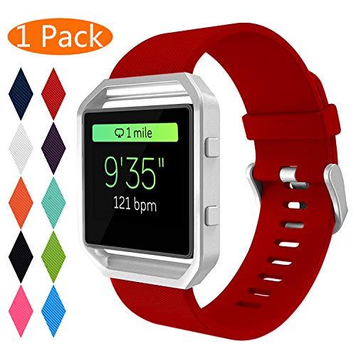 KingAcc Kompatibel Fitbit Blaze Armband, Weiche Silikon Ersatz Armbänder Armband für Fitbit Blaze, Metall Schnalle Armband Uhrenarmband Frau Männer (1-Pack, Rot, Klein) [Kein Rahmen]