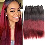 Huarisi Burgundy Straight Bundles 1b/99j Brazilian Hair Weave Silky Straight Ombre Hair 2 Tone Pelo Humano Liso Natural Double Weft Pack Of 14 16 18 Inches