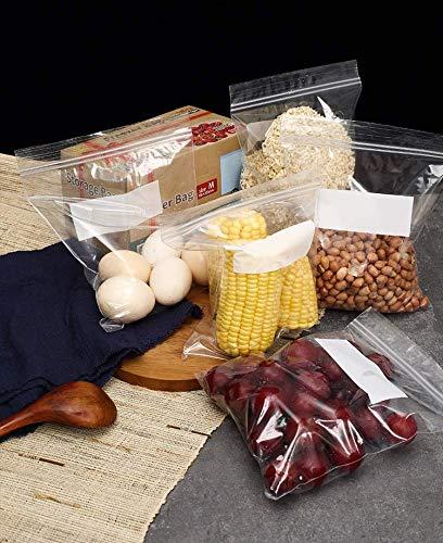GUBEE Double Zipper Gefrierbeutel,Mehrzweck Aufbewahrungsbeutel-50er Pack, Druckverschluss-Beutel für Lebensmittel Marinieren Sie Fleisch, Gemüse, Obst, Müsli, Sandwich, Snacks, Reiseartikel