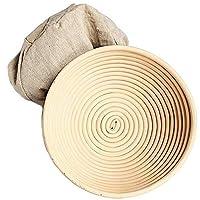 Zxyan フルーツバスケット パンボウルベーキング生地プルーフィングバスケット裏地布カバー付き10ラウンド証明バスケットの2パック お菓子 収納かご