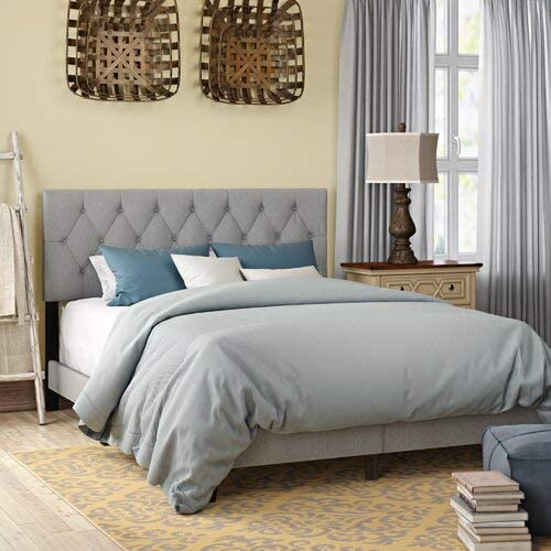 Amazon Com Drusilla Tufted Upholstered Low Profile Standard Bed Bed Sleeping King Queen Full Double Rest Sitting Gift Twin Gray Kitchen Dining