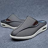 B/H Zapatos diabéticos para Hombre,Pies hinchados, Zapatos de Medio Arrastre para Ancianos, Zapatos para pie diabético-37_A Gris,Calzado para Calzado de Salud para la Diabetes