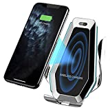 Aeolus Car Wireless Charger Vent – QI Charging Dock for iPhone and Android Smartphones – Premium Wireless Charging Car Cradle with Automatic Clamping – Built-in Led Lights – USB Charger Included
