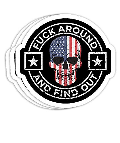 Fuck Around and Find Out Patriotic Distressed Skull Design Gift Decorations - 4x3 Vinyl Stickers, Laptop Decal, Water Bottle Sticker (Set of 3)