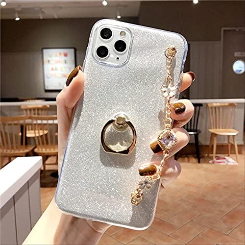 Bling Diamond Luxury Bracelet Funda para teléfono con cordón para iPhone 4 5 6 7 8 4S 5S 5C 5SE 6S Plus 11 12 Mini X XS XR Pro MAX TPU Cover para iPhone 4S Blanco