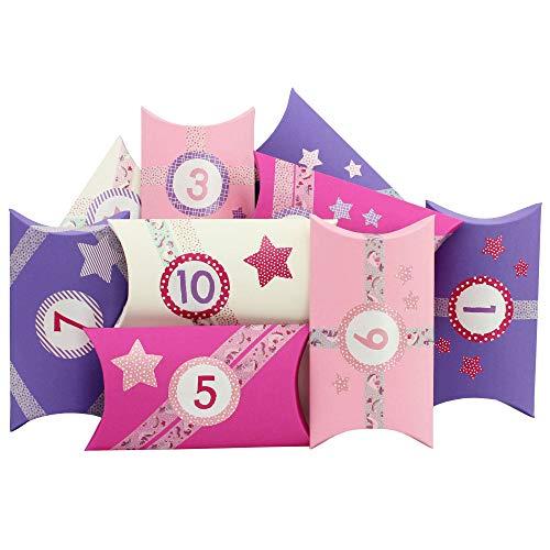 Papierdrachen Calendario dell'Avvento Fai-da-Te - con Washi Tape e Adesivi con Numeri - 24 scatole a Cuscino in Cartone - Motivo Unicorno