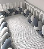cojin antivuelco bebe,chichoneras cuna,reductor de cuna,protector cuna,barrera cama,1 M parachoques de bebé cojín parachoques en la cuna protección de cama de bebé tejido de parachoques de cuna