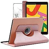 ebestStar - kompatibel mit iPad 10.2 Hülle (2019) Rotierend Schutzhülle Etui Ständer, Rotating Hülle Cover, Pink Gold + Panzerglas Schutzfolie [iPad: 250.6 x 174.1 x 7.5mm, 10.2'']