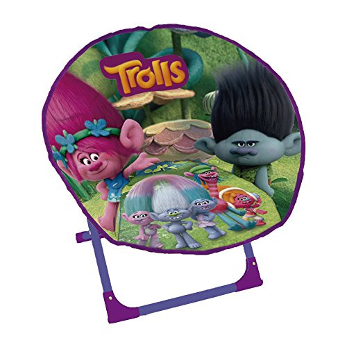 Trolls 711349 Fauteuil Pliable Enfants, Acier, Violet/Vert, 50x50x50 cm