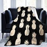 WXM Couverture en flanelle polaire mignonne, motif ananas dorés, noir et vert tropical pour un meilleur pique-nique, un cadeau de mariage, une couverture confortable lavable 127 cm x 40 cm