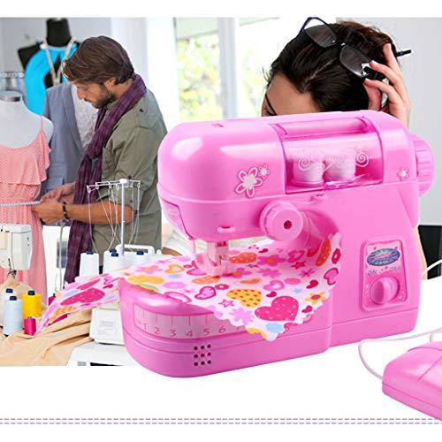 Nesee Kids Sewing Machine Kit - The Little Seamstress Denim Creations Craft Educational Sewing Kit Baby Kid Developmental Pretend Play Sewing Machine Toy Set Gift for Girls Kids
