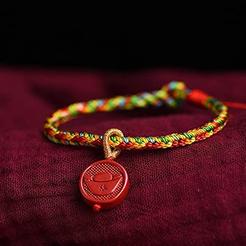 Cosaike Feng Shui curativo Cuerda Hecha a Mano Pulsera Tejida cinabar lingity Lingot con carácter Chino Pulsera Pulsera Trenzado Color Cuerda Cuerda Brazalete Amuleto atrae Dinero Prosperidad Suerte