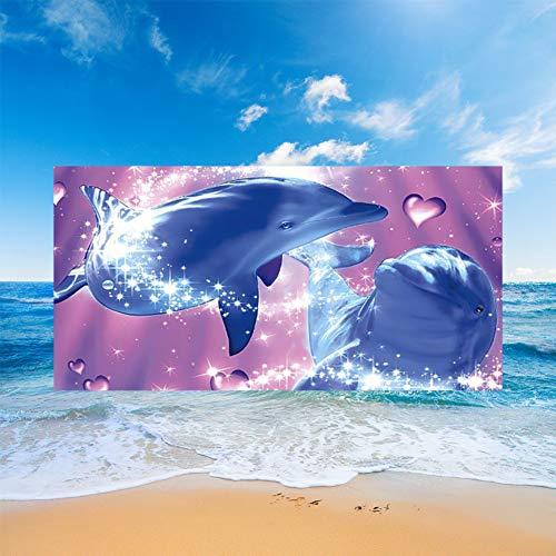 Fansu Teli Mare in Microfibra Grandi,Oceano Animale Stampa Telo Mare Microfibra Leggero Asciugamano da Spiaggia Estate Coperta da Spiaggia per Viaggio Mare (Viola Delfino,150x180cm)