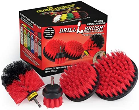 BBQ Grill Cleaning Ultra Stiff Drill Powered Cleaning Brushes 4 Piece Kit Replaces Wire Brushes for Rust Removal, Loose Paint, De-Scaling, Graffiti Removal on Stone, Brick, and Masonry.