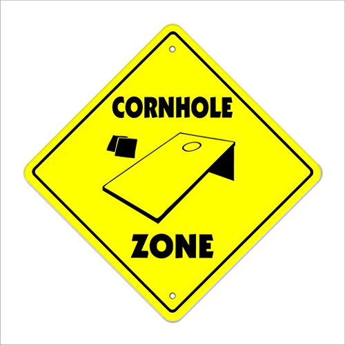 "Cornhole Crossing Sign Zone Xing | Indoor/Outdoor | 12"" Tall Plastic Sign game yard play player bean bag board toss park"