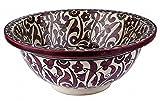Fes / Marrakesch marokkanische Keramik handbemalt Waschbecken Waschbecken - Marrakesch Runde, lackiert innen heraus - Di 40 Cam H 16 cm