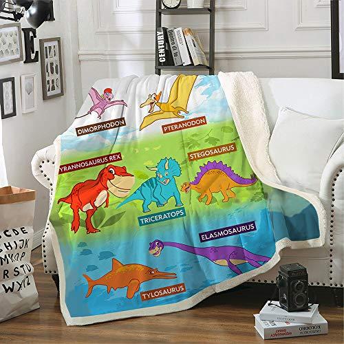 Sherpa Fleece Blanket Dinosaurs 50' x 60' - Colorful Cozy Dinosaur Throw Blanket for Kids