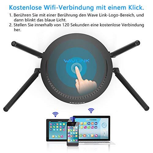 WAVLINK AC+N WLAN Router, Dualband AC1200 Router WLAN AC867 Mbit/s(5 GHz)+N300 Mbit/s(2,4GHz) für den Betrieb an einem Modem am Kabel-/DSL-/Glasfaser-Anschluss,Gigabit LAN,USB 2.0 Media Server,schwarz