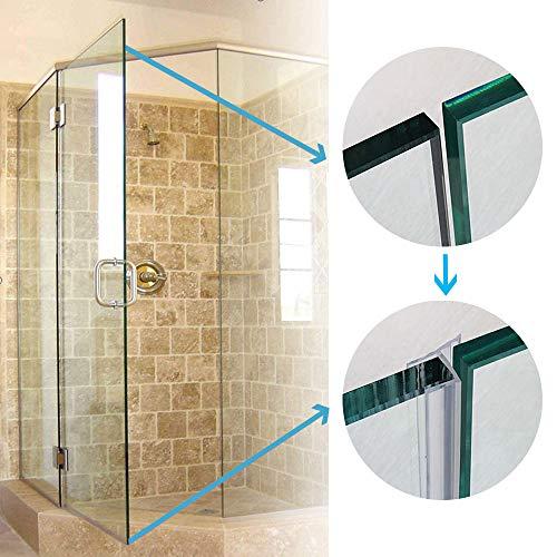 TSMST Frameless Shower Door Sweep Seal Drip Rail, H Type 3/8' x 120' Glass Shower Silicone Door Seal Strip- 1 Pack