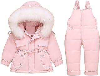 Bébé Combinaison de Neige Enfant Doudoune avec Capuche + Pantalons de Ski 2 Pièces Combinaison de Ski Hiver Veste Manteau ...