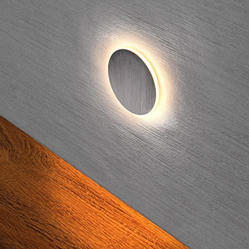 LED Treppenbeleuchtung 230V warmweiß 2,5W RUND Treppenleuchte Wand Einbauleuchte Einbaustrahler Treppenlicht Flurleuchte Nachtlicht 6107