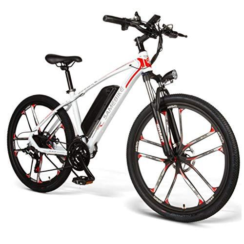 Bicicleta eléctrica de 26 pulgadas-48V 8AH Bicicleta de montaña Ligera Shimano 21 Speed, Motor de tracción Trasera de 350W, 25 km/h, múltiples Planes de conducción (Color : White)