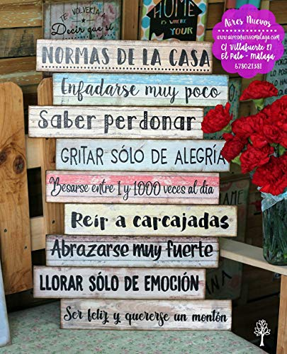 Cuadro de madera con frases y mensajes positivos e inspiradores para decorar...